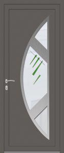 Rome - droit - vitré V8_17 avec entourage inox 3 pièces - gris quartz 7039