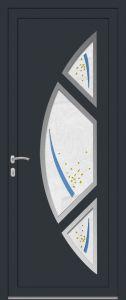 Rome - droit - vitré V8PIL9 avec entourage inox 3 pièces - gris 7016