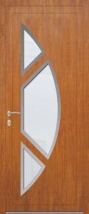 Rome - gauche - vitré sablage uni avec entourage inox 3 pièces - chêne doré